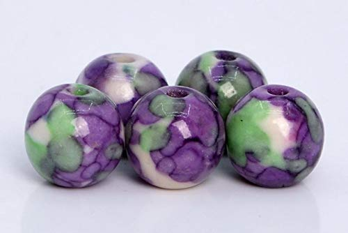 31 Pcs - 6MM Purple & Green Rain Flower Jade Beads Grade AAA Round Gemstone Loose Beads ()