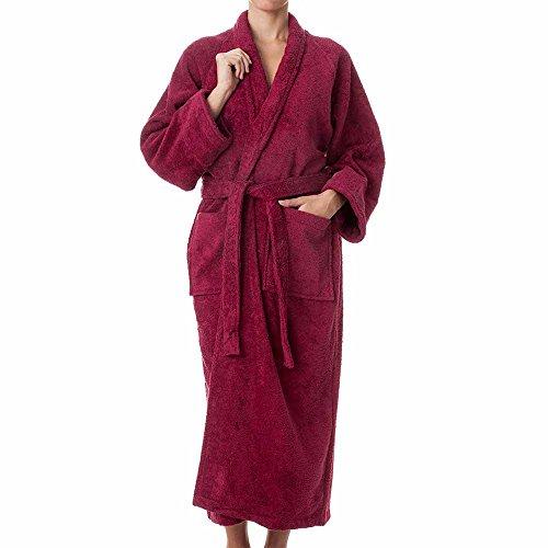 Unisex Terry Cloth Robe - 100% Long Staple Cotton Hotel/Spa Robes - Classic Mens/Womens Bathrobes,Burgundy,X-Large -