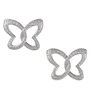 Chopard Womens 18K White Gold Diamond Butterfly Stud Earrings