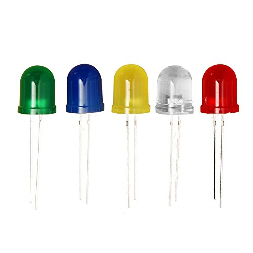 TOOGOO(R) 100 x 10mm Red Yellow Blue Green White Diffused Bright 5K MCD LED Leds Light
