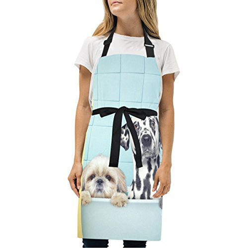 EVERUI Women Cooking Kitchen Two Dogs and Cat in The Bath Bib Apron, with Pockets, Machine Washable