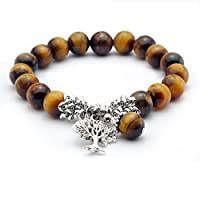 Cat Eye Jewels Natural Tiger Eye Stone Bracelet with Fengshui Coin Yoga Tibetan Prayer Mala Buddha Bracelet Free Gift of Red String Bracelet