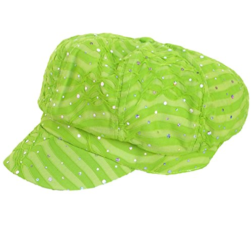 [Chemo Hat Glitter Sequin Lime Newsboy Fitted for Women with Cancer Chemo Hair Loss] (Lime Green Wigs)
