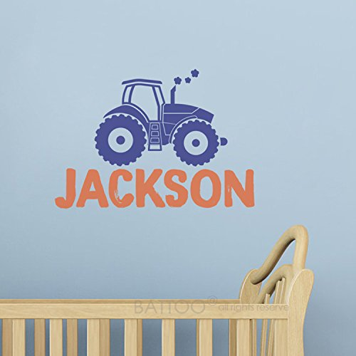 (BATTOO Personalized Name Wall Decal, Custom Name Tractor Wall Sticker Vinyl Decal 30