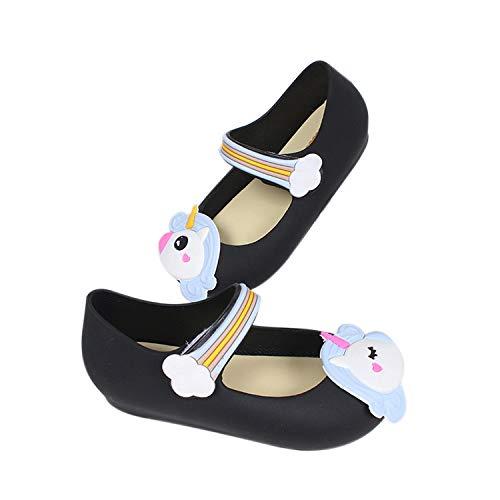 TANDEFLY Girls Mary Jane Shiny Unicorn Flat Shoes White Dots Kids Sandals Toddler Little Kid