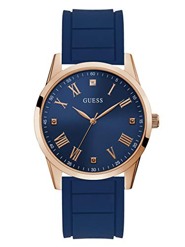 - GUESS  Comfortable Iconic Blue Stain Resistant Silicone Watch with Blue Diamond Dial + Rose Gold-Tone Roman Numerals. Color: Rose Gold-Tone/Blue (Model U1221G3)