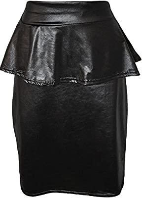 WearAll Women's Plus Size Wet Look Peplum Skirt