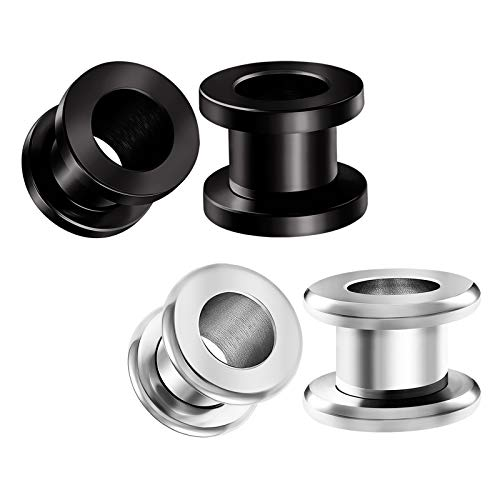 BIG GAUGES 2 Pairs Surgical Steel Black Anodized 0 g 8 mm Screw Flesh Tunnels Piercing Ear Earring Stretcher Rounded Plugs Lobe -