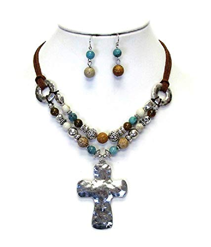 CARTiacs Religious Cross Necklace and Earring Set Hammered Metal