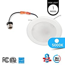 1-Pack LEDMyplace 5/6-inch Dimmable LED Disk Light Flush Mount Ceiling Fixture, 15W (120W Replacement), 5000K , ENERGY S