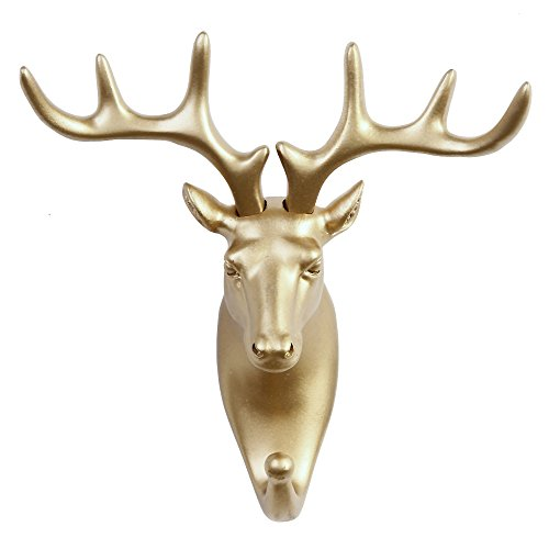 TraPal Dear Head Single Decorative Coat Hook Wall Mounted Rustic Coat Rack Easy to Install Resin Animal Shape Clothes/Garment/Jacket Hanger (Deer-Gold) by TraPal