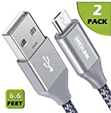 BrexLink Micro USB Cable Android, Micro USB to USB 2.0 Cable (2-Pack,6.6Ft) Nylon Braided Sync and Fast Charging Cable for Samsung, Kindle, Android Smartphones, Galaxy S7 Edge, Moto G5, PS4 (Grey)