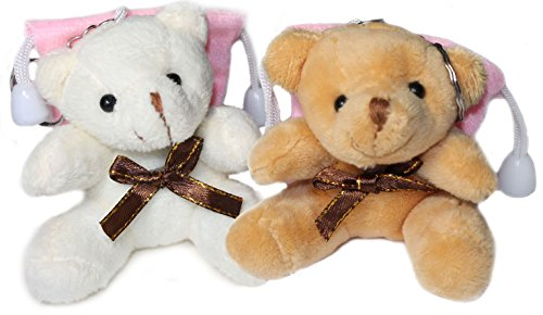 """Lucore Christmas 3"""" Teddy Bear Plush Stuffed Animal Keychains - 2 PC Set of Hanging Toy Dolls, Lucky Charms & Ornaments (xmas-pink) from Lucore Home"""