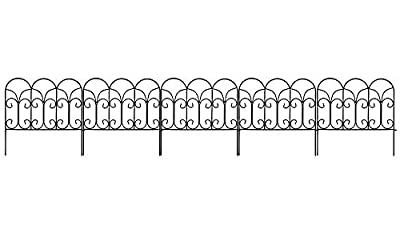 Amagabeli Decorative Garden Fence 18in x 7.5ft Coated Metal Outdoor Rustproof Landscape Wrought Iron Wire Border Fencing Folding Patio Fences Flower Bed Barrier Section Panel Decor Picket Edging Black
