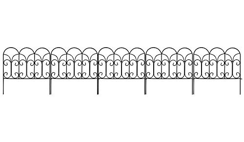 Amagabeli Decorative Garden Fence 18in x 7.5ft Coated Metal Outdoor Rustproof Landscape Wrought Iron Wire Border Fencing Folding Patio Fences Flower Bed Barrier Section Panel Decor Picket Edging Black ()