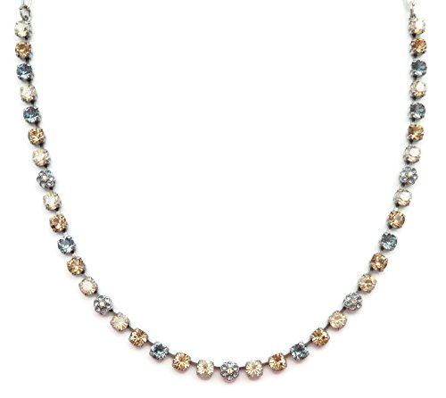 Mariana Swarovski Crystal SilverPlate Necklace Dainty Blue Golden Shadow Mixed Flower Mosaic 216-3 Moondrops 1 Silverplate Swarovski Crystal