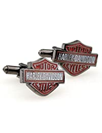 Williams and Clark Gunmetal Harley Davidson Logo Motor Cycles Auto Cufflinks