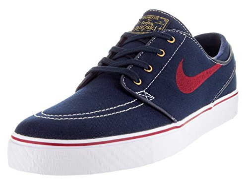 Nike Zoom Stefan Janoski CNVS Zapatillas de skateboarding Negro / Rojo / Blanco / Amarillo (Obsidian / Tm Rd-White-Mtllc Gld-)