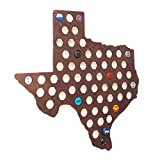 Dark Texas Beer Cap Map - Craft Beer Cap Holder