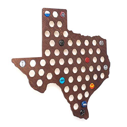 (Dark Texas Beer Cap Map - Craft Beer Cap Holder)