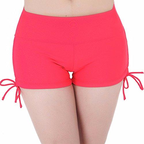 FEESHOW Mujer Shorts De Baño Pantalón Corto Pantalones natación Boardshorts Rojo