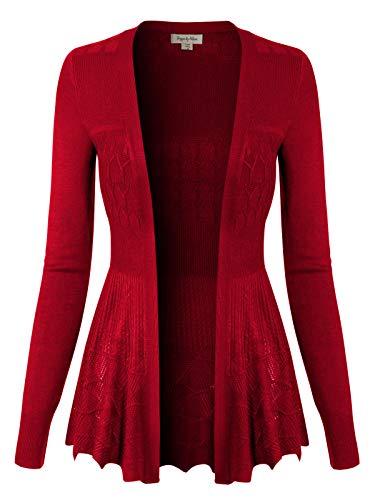 Design by Olivia Women's Long Sleeve Crochet Knit Draped Open Sweater Cardigan Red M