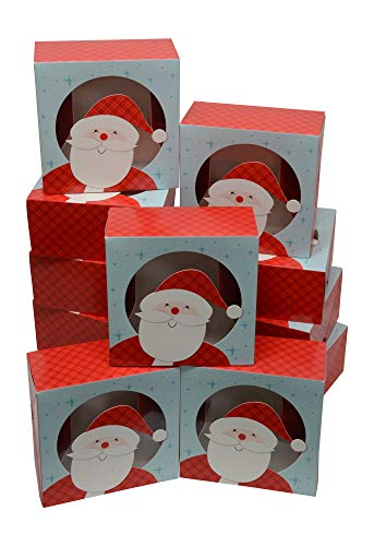 Christmas Cookie gift boxes, fold-able with holiday designs, set of 12 boxes (Gingham Santa) - Santa Christmas Box