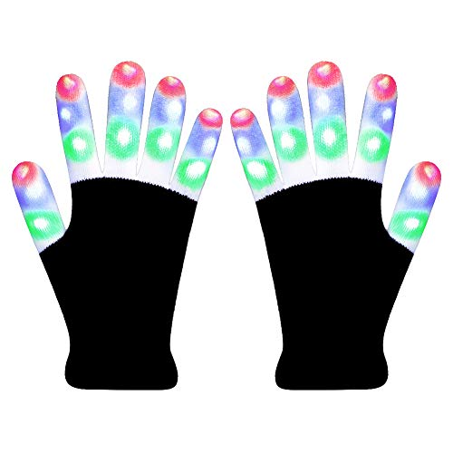 Hpory LED Gloves Light Up Gloves, Finger Light Gloves for Kids, Flashing Light Gloves 6 Modes for Halloween, Christmas, Birthday Party