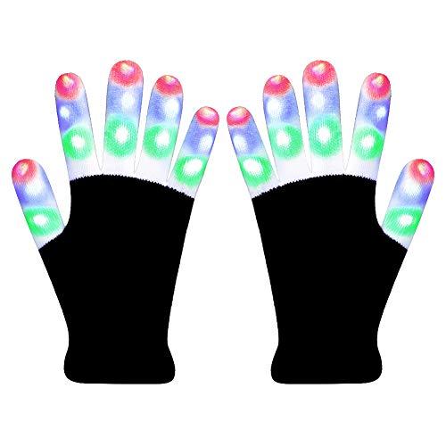 Hpory LED Gloves Light Up Gloves, Finger Light Gloves for Kids, Flashing Light Gloves 6 Modes for Halloween, Christmas, Birthday Party -