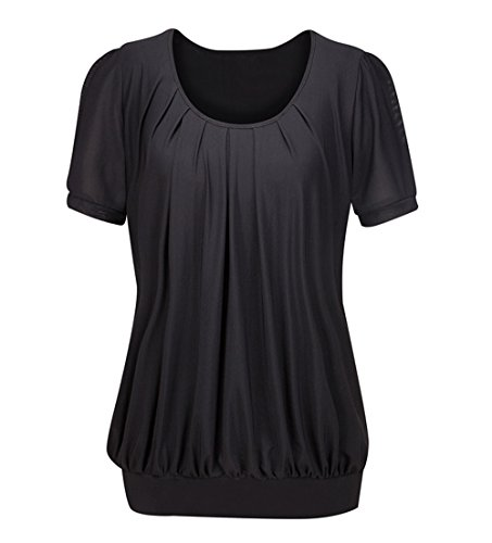 Solatin Women's Short Sleeve Scoop Neck Pleated Front Fitted Blouse T-shirt