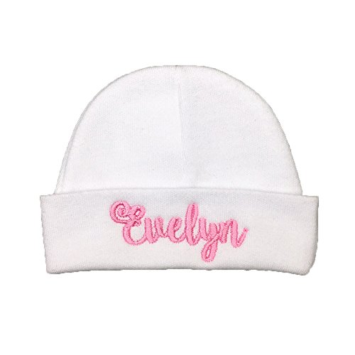 Personalized Baby Girl hat - Custom Newborn Baby Girl hat, Monogrammed Preemie hat (Newborn) - Monogrammed Hats Baby