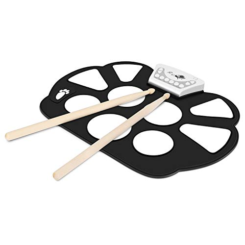 Flexzion Digital Electronic Roll Up Drum Pad Set Kit - Portable Foldable Silicone Sheet 9 Pads with Drum Stick, Foot Pedal Switch, Headphone Jack, USB Charging Audio MP3 Input Support Output