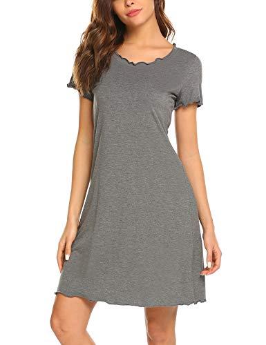 (Ekouaer Women's Short Sleeve Nightshirt Round Neck Comfy Nightgown Grey S)