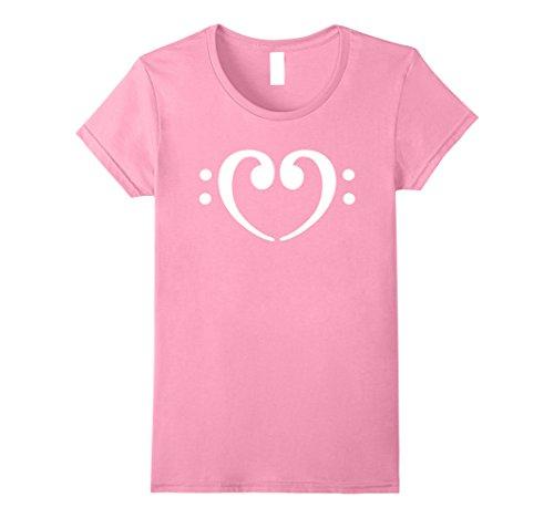 Womens Bass clefs heart T-Shirt Small Pink