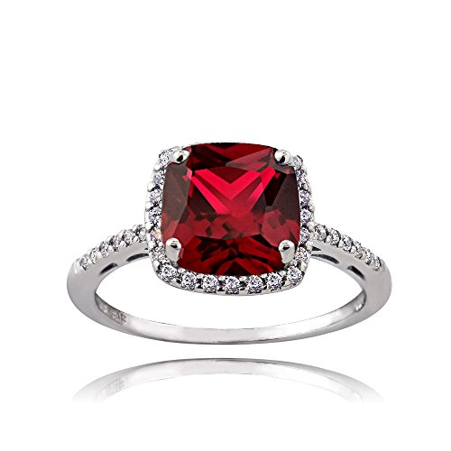 Sterling Silver Created Ruby and Cubic Zirconia Cushion-Cut Halo Ring, Size 7 (Ring Ruby Ice)