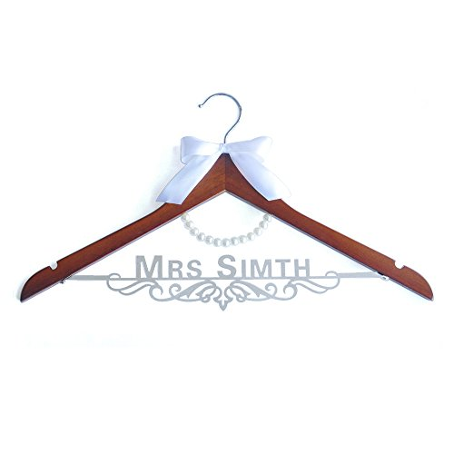 Custom Wedding Dress Hanger with Name and Date, Personalized Bride Hanger with Bow, Custom Bride Hanger with Bow,-Gifts for Bride Mother of the Bride's Gifts