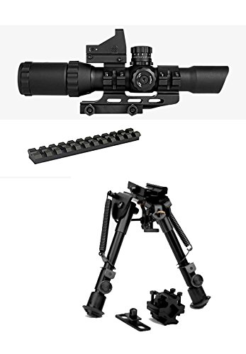 M1SURPLUS Optics Kit 1-4x28 Tactical Scope (Red Green Blue) Illuminated Mil-Dot Reticle + Backup Dot Sight + Compact Height Adjustable Bipod + Scope Mount/This Item fits Ruger 10/22 Rifles