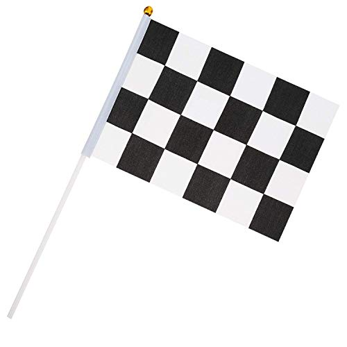 Pangda 35 Pack Checkered Flag Sticks Racing Flag Hand Flag for Birthday Car Party, 8 x 5.5 Inch Black and White