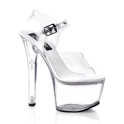 Pleaser Women's SKY308/C/M  Dress Sandal, Clear White, 7 M - Pleaser Usa Womens Shoes Platform