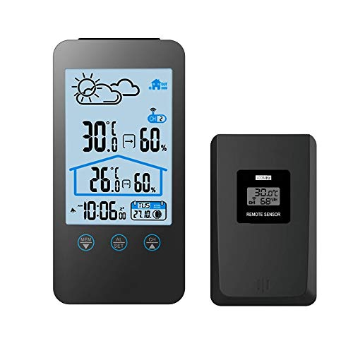 GAOAG Digital Wireless Hygrometer - Touch Screen Thermometer Wireless Temperature Indoor Outdoor Temperature Hygrometer with LED Backlight (Black) by GAOAG