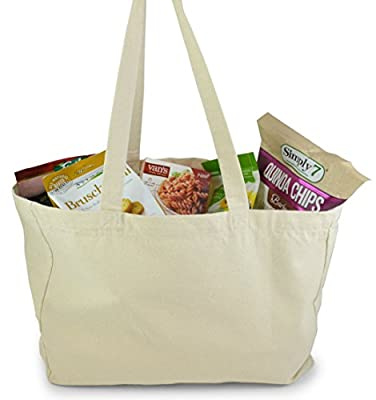 Natural Color Cotton Tote Bag, perfect for beach, grocery shopping, craft projects - extra thick, large, durable,washable,100% cotton