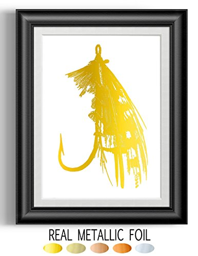 Lure Foil - fishing lure Gold Foil Print, Fishing Decor Wall Art Unframed