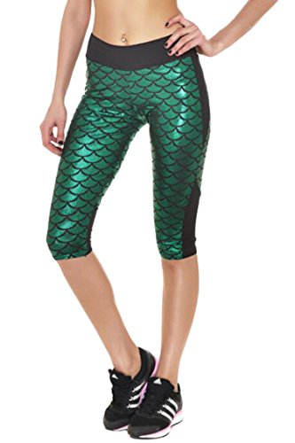 Pink Queen Women's Fish Scale Printed Running Yoga Capri Leggings