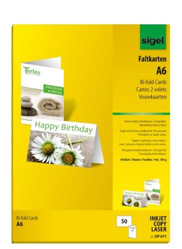 Sigel DP671 Faltkarten hochweiß, A6, 50 Stück, 185 g