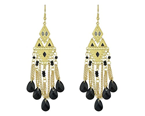 Glitz New Arrivals Gold Chain Tassel Geometric Black Colorful Long Water Drop Earrings - Ethnic - New Costco Arrivals
