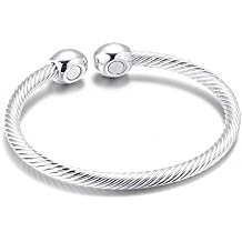 3 Colors Magnetic Bracelet Copper Therapy Magnets Bangle For Arthritis Pain For Women Men (silver)