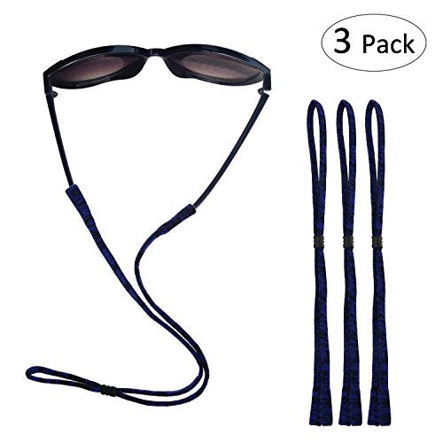 Fixget Eyewear Retainer, Adjustable Sports Sunglass Holder Straps, Elastic Nylon Standard Safety Eyeglasses Neck Cord String Eyewear Retainer Strap - Set of 3, ()