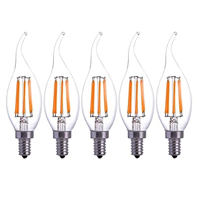 5-PACK LED Filament Candle Light Bulb 6W to Replace Incandescent 60W Bulb Soft White 120V E12 Beam Angle for Home,Restaurant,Droplight,Wall lamp YT-C35-13 (5-PACK)