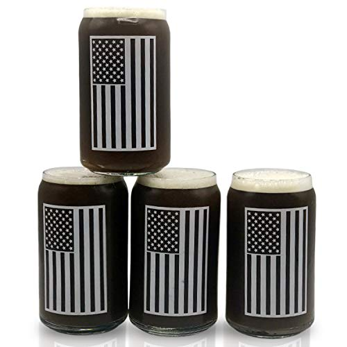 Beer Glass Can Shaped Drinking Glasses Set Of 4 Libby 209 16oz USA American Flag Cool Birthday Present or Gift for Dad, Veterans Day, Kitchen, Home Bar, 4th of July! (Flags That Look Like The American Flag)