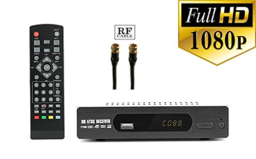Digital converter box + RF and RCA Cable For Recording and Viewing Full HD Digital Channels for FREE (Instant or Scheduled Recording, DVR, 1080P HDTV, HDMI Output, 7 Day Program Guide and LCD Screen)